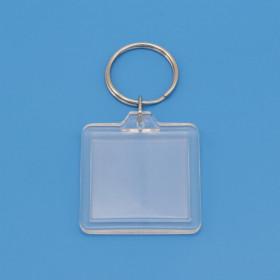 Llavero acrílico transparente cuadrado 33 x 33 mm